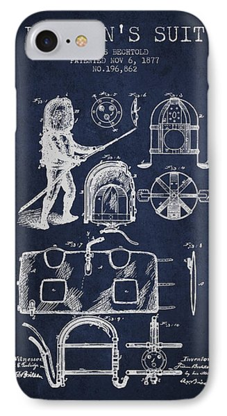 1877 Firemans Suit Patent - Navy Blue IPhone Case by Aged Pixel