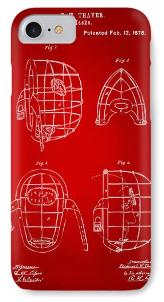 1878 Baseball Catchers Mask Patent - Red IPhone Case by Nikki Marie Smith