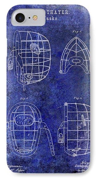 1878 Catchers Mask Patent Blue IPhone Case by Jon Neidert