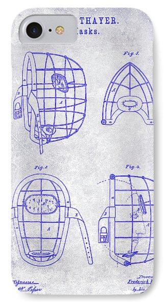 1878 Catchers Mask Patent Blueprint IPhone Case by Jon Neidert