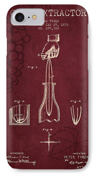 1878 Cork Extractor Patent - Red Wine IPhone Case by Aged Pixel
