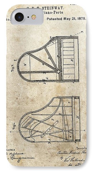 1878 Steinway Grand Piano Patent IPhone Case by Dan Sproul