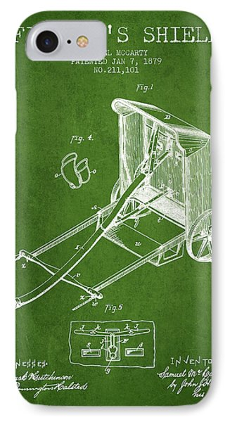 1879 Firemans Shield Patent - Green IPhone Case by Aged Pixel