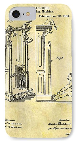 1880 Exercising Machine Patent IPhone Case by Dan Sproul