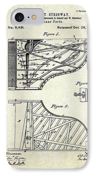 1880 Steinway Piano Forte Patent Art Sheet 1  IPhone Case by Gary Bodnar