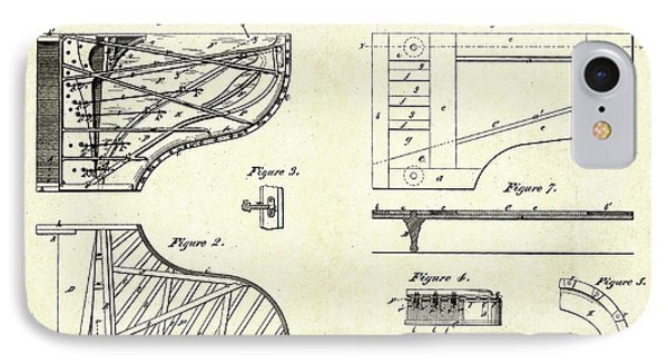 1880 Steinway Piano Forte Patent Art Sheets V2 IPhone Case by Gary Bodnar