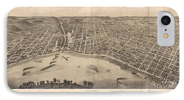 1880 Vintage Evansville Map IPhone Case by Dan Sproul