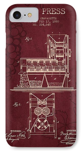 1880 Wine Press Patent - Red Wine IPhone Case by Aged Pixel