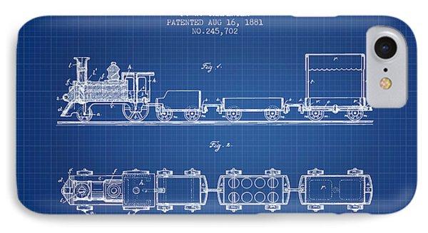 1881 Toy Locomotive Patent - Blueprint IPhone Case