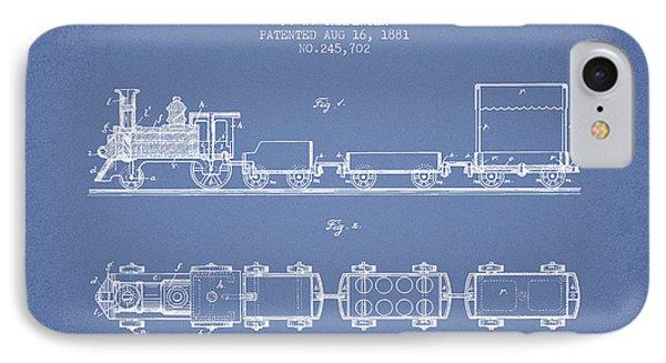 1881 Toy Locomotive Patent - Light Blue IPhone Case