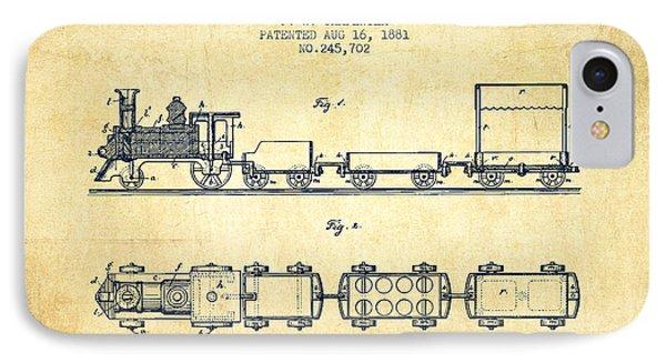 1881 Toy Locomotive Patent - Vintage IPhone Case