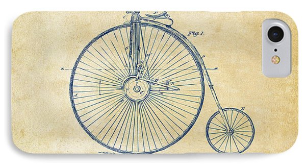 1881 Velocipede Bicycle Patent Artwork - Vintage IPhone Case by Nikki Marie Smith
