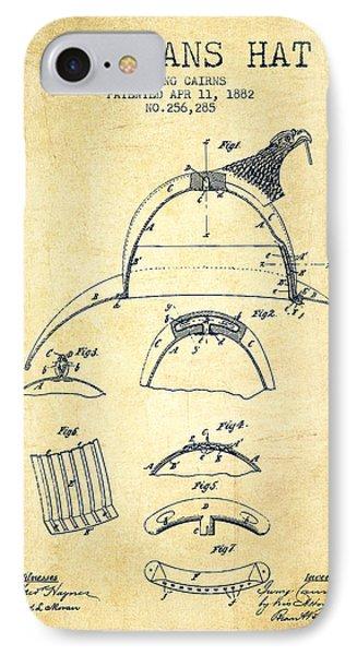 1882 Firemans Hat Patent - Vintage IPhone Case by Aged Pixel