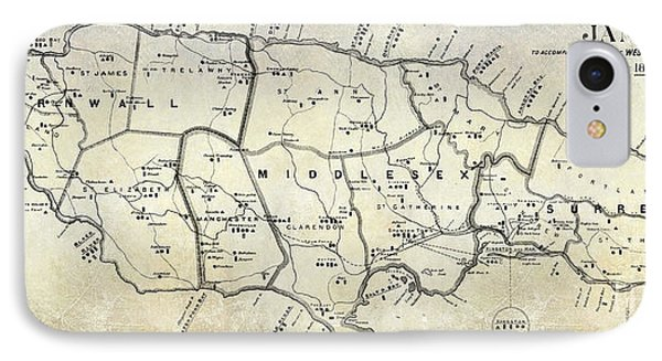 1882 Jamaica Map IPhone Case by Jon Neidert