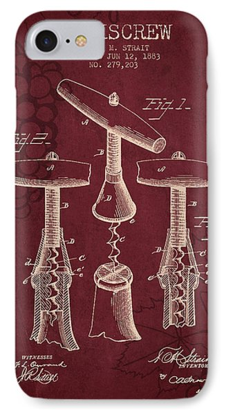1883 Corkscrew Patent - Red Wine IPhone Case by Aged Pixel