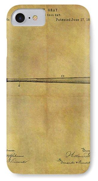 1884 Baseball Bat Illustration IPhone Case by Dan Sproul