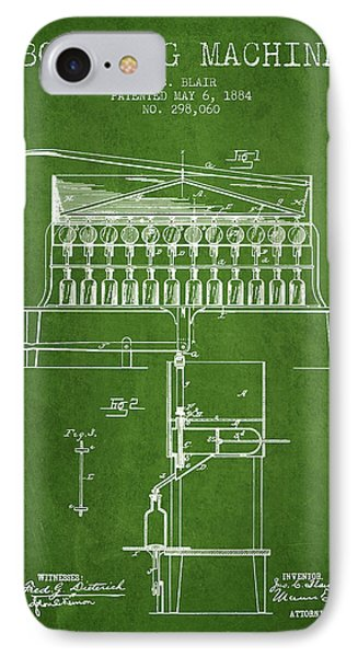 1884 Bottling Machine Patent - Green IPhone Case by Aged Pixel