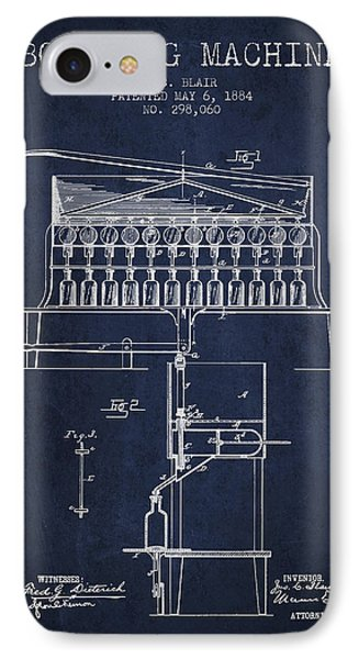 1884 Bottling Machine Patent - Navy Blue IPhone Case by Aged Pixel