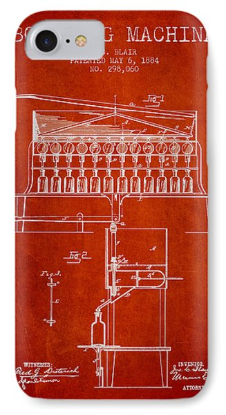 1884 Bottling Machine Patent - Red IPhone Case by Aged Pixel