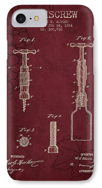 1884 Corkscrew Patent - Red Wine IPhone Case by Aged Pixel