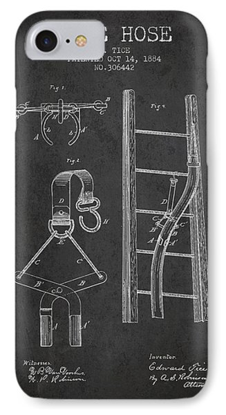 1884 Fire Hose Patent - Charcoal IPhone Case by Aged Pixel
