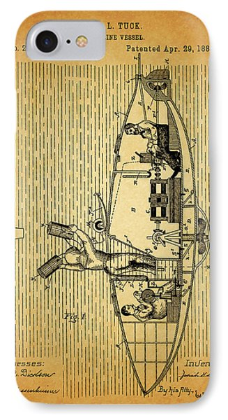1884 Submarine Ship Patent IPhone Case by Dan Sproul