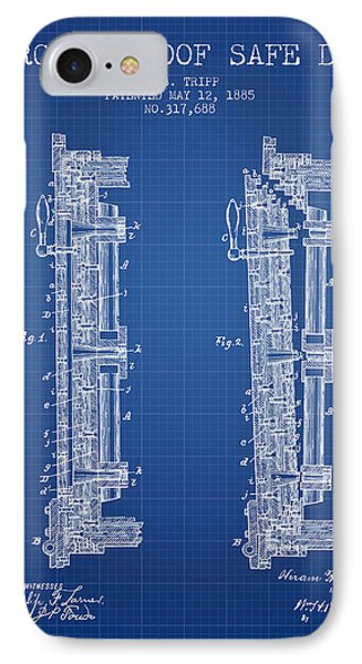 1885 Bank Safe Door Patent - Blueprint IPhone Case by Aged Pixel
