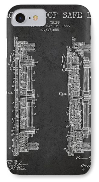 1885 Bank Safe Door Patent - Charcoal IPhone Case by Aged Pixel