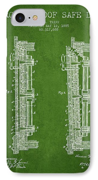 1885 Bank Safe Door Patent - Green IPhone Case by Aged Pixel