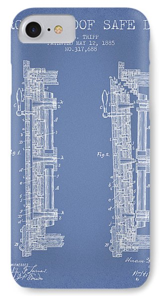 1885 Bank Safe Door Patent - Light Blue IPhone Case by Aged Pixel