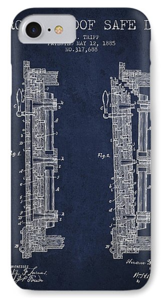 1885 Bank Safe Door Patent - Navy Blue IPhone Case by Aged Pixel