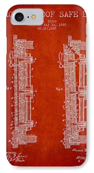 1885 Bank Safe Door Patent - Red IPhone Case by Aged Pixel