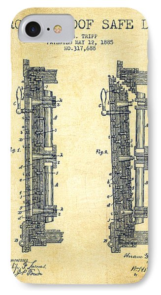 1885 Bank Safe Door Patent - Vintage IPhone Case by Aged Pixel