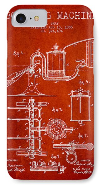 1885 Bottling Machine Patent - Red IPhone Case by Aged Pixel