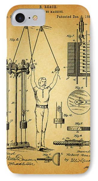 1887 Exercising Machine Patent IPhone Case by Dan Sproul
