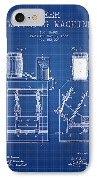 1888 Beer Bottling Machine Patent - Blueprint IPhone Case by Aged Pixel