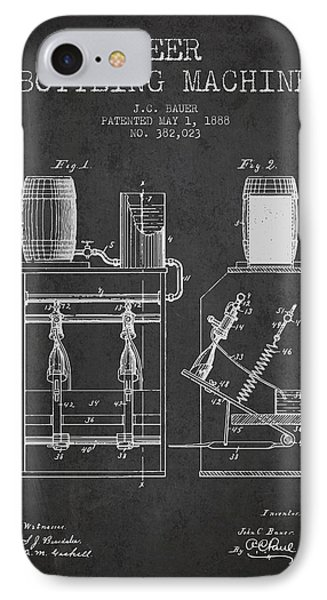 1888 Beer Bottling Machine Patent - Charcoal IPhone Case by Aged Pixel