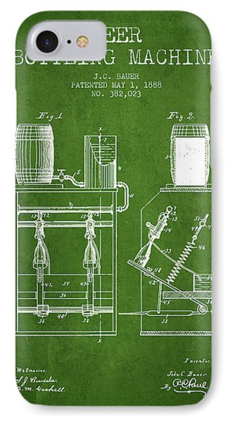 1888 Beer Bottling Machine Patent - Green IPhone Case by Aged Pixel