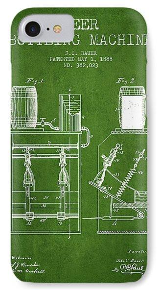 1888 Beer Bottling Machine Patent - Green IPhone Case