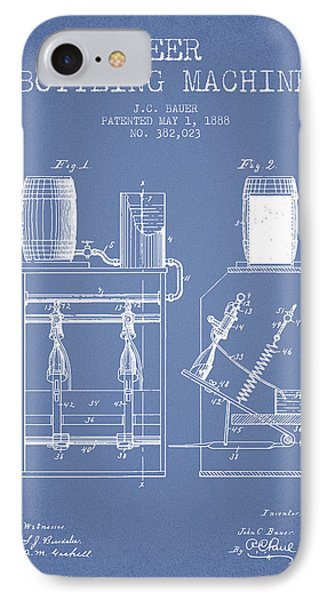 1888 Beer Bottling Machine Patent - Light Blue IPhone Case by Aged Pixel