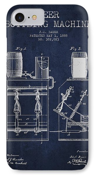 1888 Beer Bottling Machine Patent - Navy Blue IPhone Case by Aged Pixel