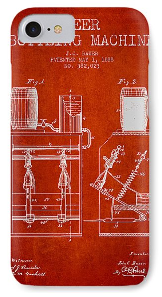1888 Beer Bottling Machine Patent - Red IPhone Case by Aged Pixel