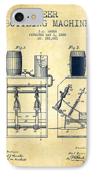 1888 Beer Bottling Machine Patent - Vintage IPhone Case by Aged Pixel