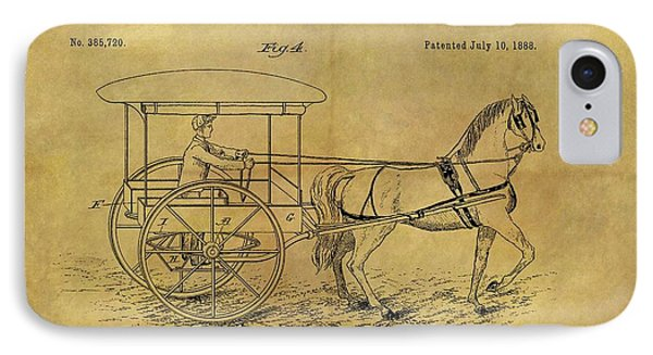 1888 Horse Carriage Patent IPhone Case by Dan Sproul