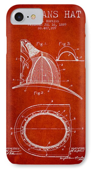 1889 Firemans Hat Patent - Red IPhone Case by Aged Pixel