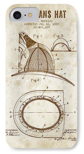 1889 Firemans Hat Patent - Vintage Grunge IPhone Case by Aged Pixel