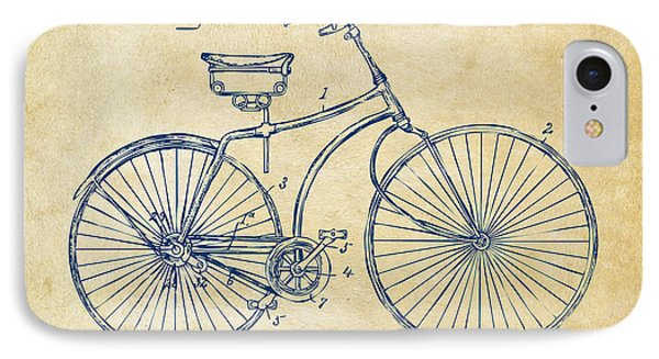 1890 Bicycle Patent Minimal - Vintage IPhone Case by Nikki Marie Smith