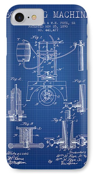 1890 Bottling Machine Patent - Blueprint IPhone Case by Aged Pixel