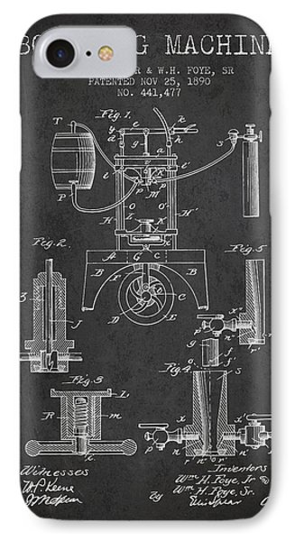 1890 Bottling Machine Patent - Charcoal IPhone Case by Aged Pixel