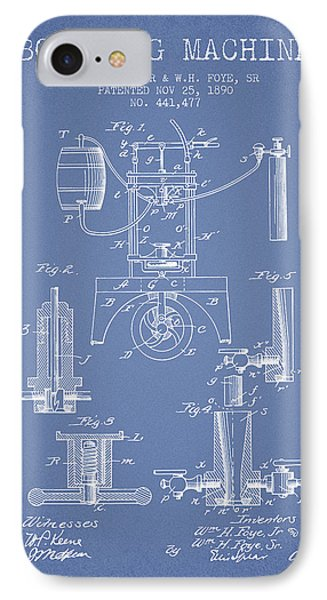1890 Bottling Machine Patent - Light Blue IPhone Case by Aged Pixel